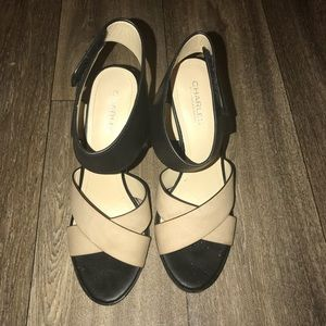 Black and beige  sandals.
